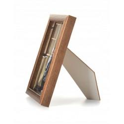 Ramka drewniana wąska 101, średni brąz 15x21