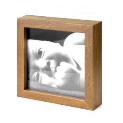 Ramka na fotografię prosta głęboka 15x15 średni brąz