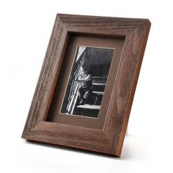 Ramka na zdjęcie prosta szczotkowana 13x18 ciemny brąz