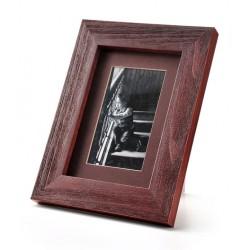 Ramka na zdjęcie prosta szczotkowana 10x15 mahoń