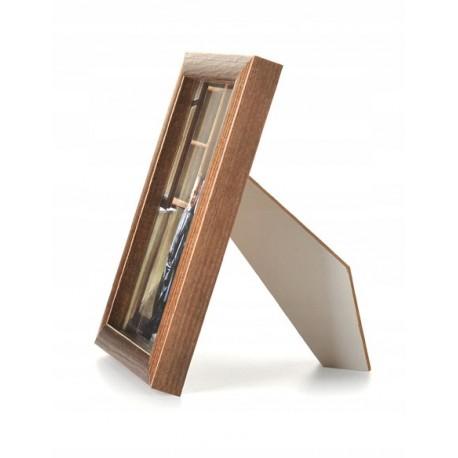 Ramka drewniana wąska 101, średni brąz 13x18